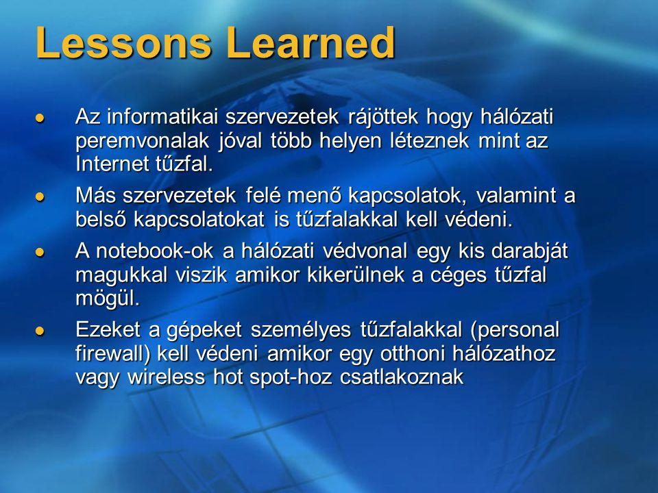 Lessons Learned Az informatikai szervezetek rájöttek hogy hálózati peremvonalak jóval több helyen léteznek mint az Internet tűzfal.