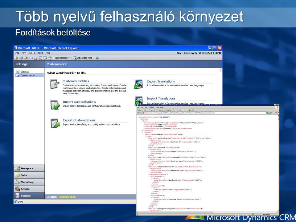Több nyelvű felhasználó környezet Fordítások betöltése