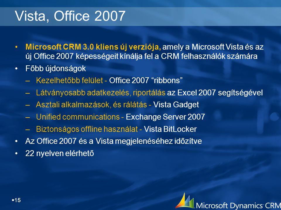  15 Vista, Office 2007 Microsoft CRM 3.0 kliens új verziója, amely a Microsoft Vista és az új Office 2007 képességeit kínálja fel a CRM felhasználók