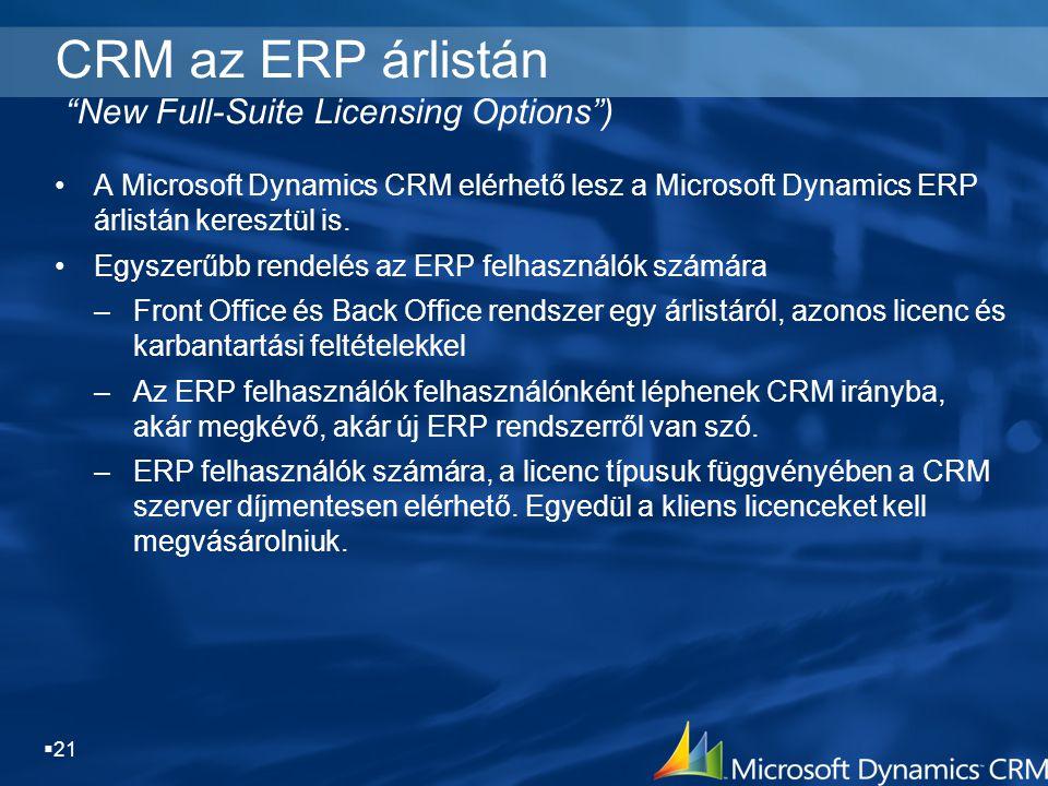 " 21 CRM az ERP árlistán ""New Full-Suite Licensing Options"") A Microsoft Dynamics CRM elérhető lesz a Microsoft Dynamics ERP árlistán keresztül is. Eg"