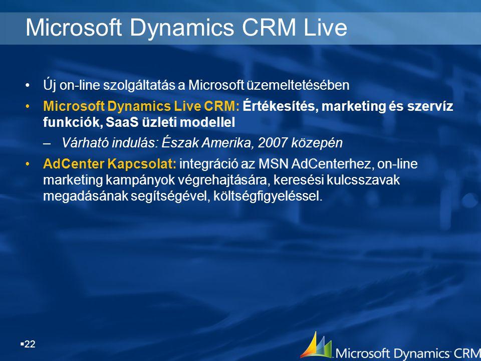  22 Microsoft Dynamics CRM Live Új on-line szolgáltatás a Microsoft üzemeltetésében Microsoft Dynamics Live CRM: Értékesítés, marketing és szervíz fu