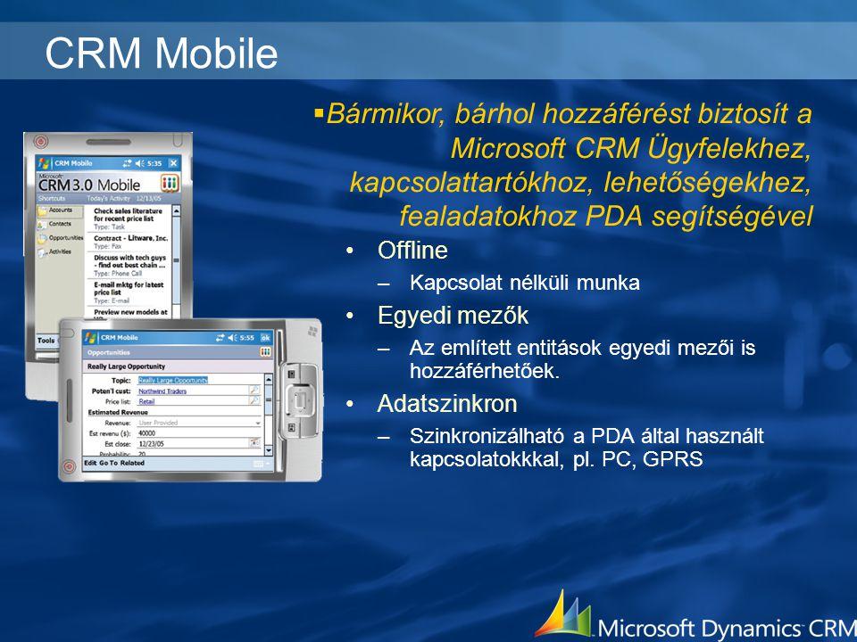 CRM Mobile Offline –Kapcsolat nélküli munka Egyedi mezők –Az említett entitások egyedi mezői is hozzáférhetőek. Adatszinkron –Szinkronizálható a PDA á