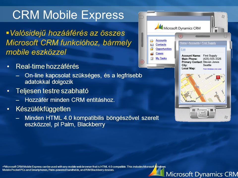 CRM Mobile Express Real-time hozzáférés –On-line kapcsolat szükséges, és a legfrisebb adatokkal dolgozik Teljesen testre szabható –Hozzáfér minden CRM