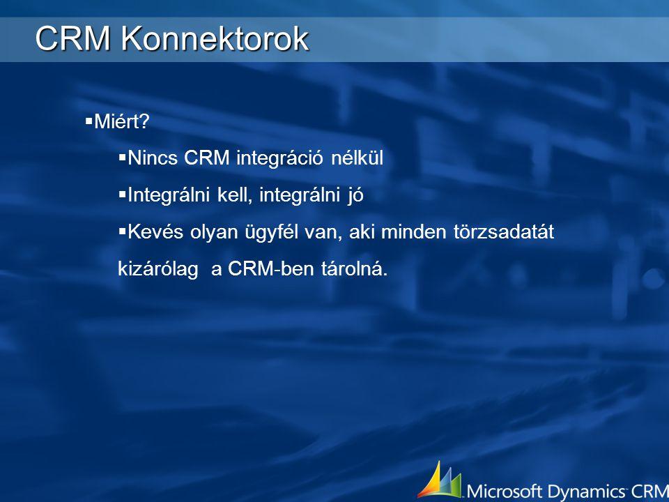 CRM Konnektorok  Miért?  Nincs CRM integráció nélkül  Integrálni kell, integrálni jó  Kevés olyan ügyfél van, aki minden törzsadatát kizárólag a C