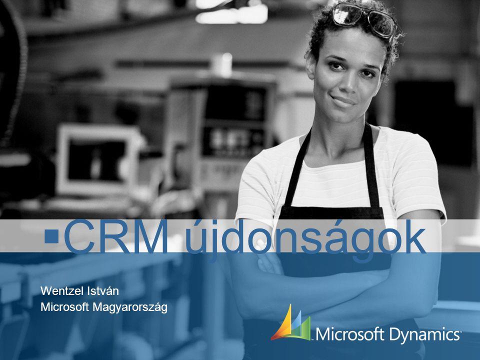 CRM újdonságok A következő egy év fejlesztéseiA következő egy év fejlesztései Következő verzió: több nyelv, több pénznem, több telephely, több workflow,Következő verzió: több nyelv, több pénznem, több telephely, több workflow, Vista és Office 2007 - új kliens a CRM-hezVista és Office 2007 - új kliens a CRM-hez Vista GadgetVista Gadget Small Business Server R2Small Business Server R2 Konnektorok, adapterek backoffice és CRM rendszerekhez.Konnektorok, adapterek backoffice és CRM rendszerekhez.