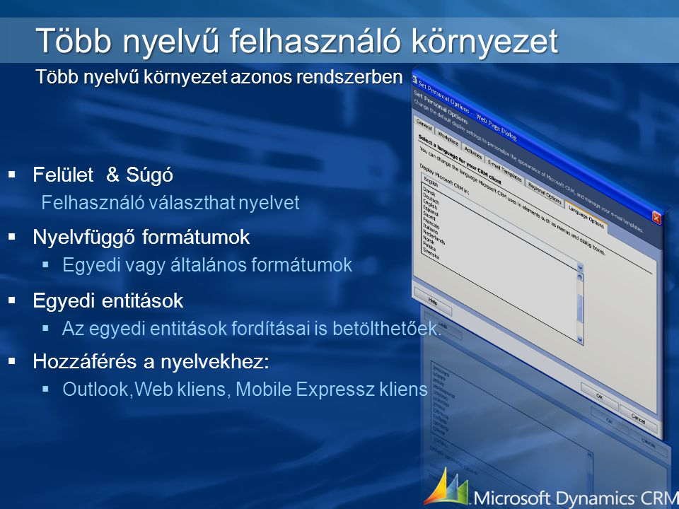 Több nyelvű felhasználó környezet Több nyelvű környezet azonos rendszerben  Felület & Súgó Felhasználó választhat nyelvet  Nyelvfüggő formátumok  E