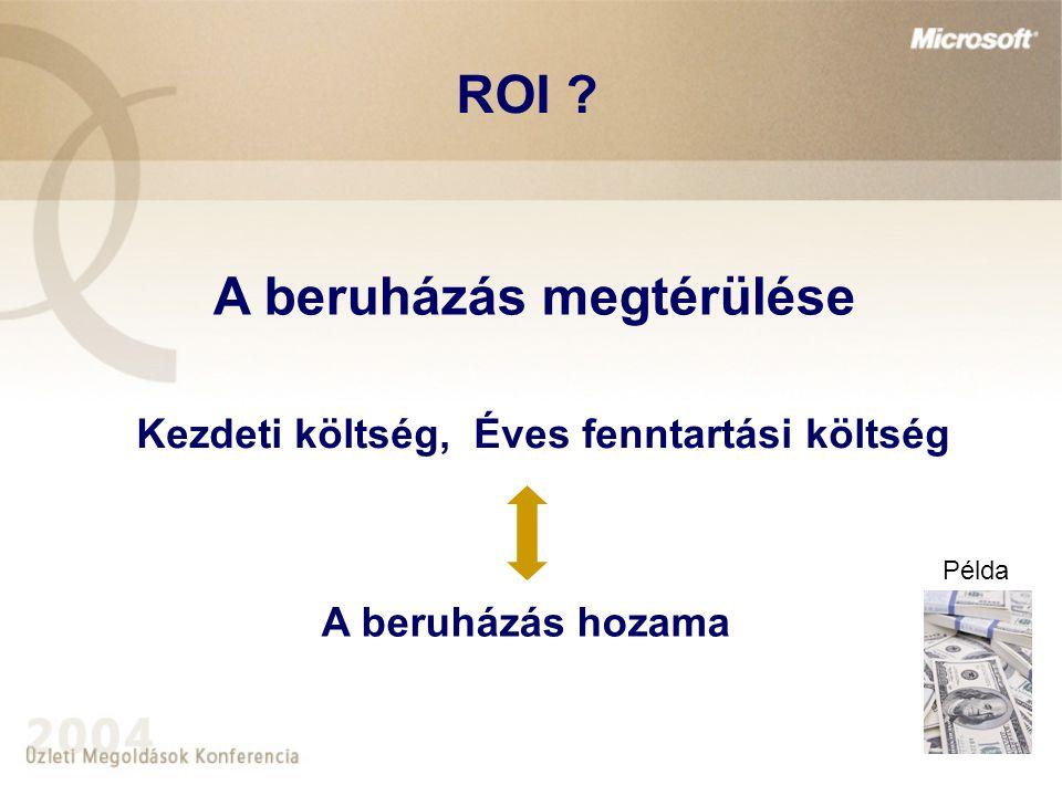A beruházás megtérülése Kezdeti költség, Éves fenntartási költség A beruházás hozama Példa ROI ?