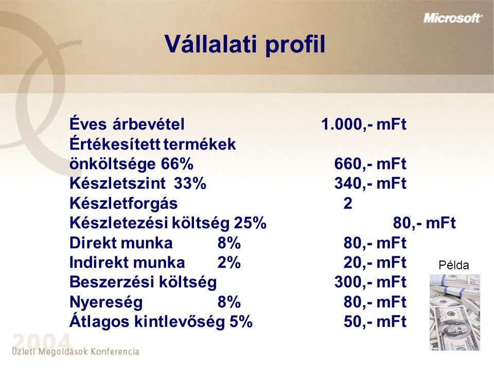 Éves árbevétel 1.000,- mFt Értékesített termékek önköltsége 66% 660,- mFt Készletszint 33% 340,- mFt Készletforgás 2 Készletezési költség 25% 80,- mFt Direkt munka8% 80,- mFt Indirekt munka2% 20,- mFt Beszerzési költség 300,- mFt Nyereség8% 80,- mFt Átlagos kintlevőség 5% 50,- mFt Példa Vállalati profil