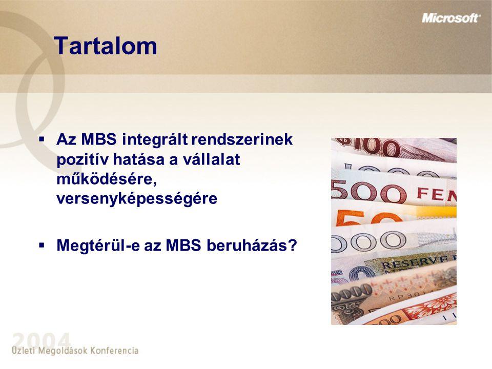 Tartalom  Az MBS integrált rendszerinek pozitív hatása a vállalat működésére, versenyképességére  Megtérül-e az MBS beruházás?