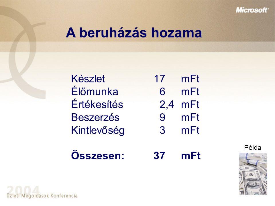 Készlet17mFt Élőmunka 6mFt Értékesítés 2,4mFt Beszerzés 9mFt Kintlevőség 3mFt Összesen:37mFt A beruházás hozama Példa