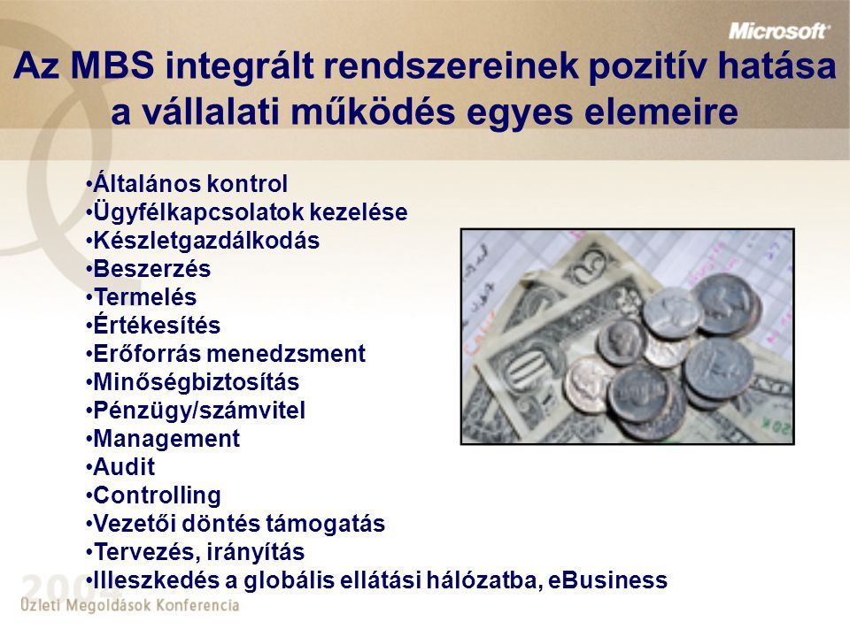 Az MBS integrált rendszereinek pozitív hatása a vállalati működés egyes elemeire Általános kontrol Ügyfélkapcsolatok kezelése Készletgazdálkodás Beszerzés Termelés Értékesítés Erőforrás menedzsment Minőségbiztosítás Pénzügy/számvitel Management Audit Controlling Vezetői döntés támogatás Tervezés, irányítás Illeszkedés a globális ellátási hálózatba, eBusiness