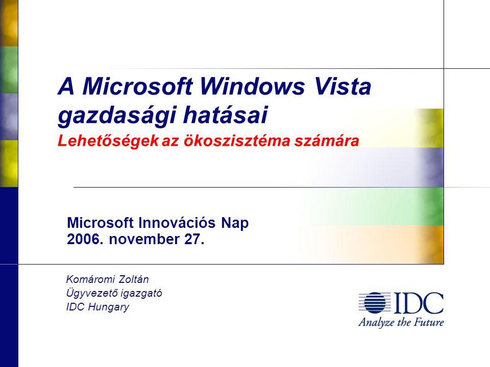 A Microsoft Windows Vista gazdasági hatásai Lehetőségek az ökoszisztéma számára Microsoft Innovációs Nap 2006.