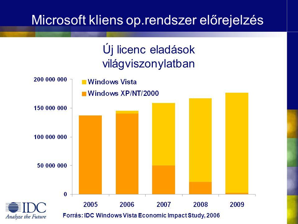 A szoftver megoldások piaci súlya EGÖ IT költés, 2007 €322 milliárd Szoftver 20% Hardver & szolgáltatások 80% IT munkahelyek, 2007 8,6 millió munkahely - Szoftver gyártók - Csatorna & szolgáltatók - Felhasználó szervezetek szoftver alkalmazottai 54% - Hardver gyártók - Csatorna & szolgáltatók - Felhasználó szervezetek hardver alkalmazottai 46% Forrás: IDC Windows Vista Economic Impact Study, 2006 IDC elemzés: minden 1 € szoftver bevételhez 2,14 € szolgáltatási bevétel kapcsolódik