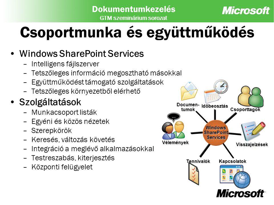 Dokumentumkezelés GTM szeminárium sorozat ASYNCHRONOUS COLLABORATION REAL-TIME COLLABORATION BUSINESS PROCESS COLLABORATION INFRASTRUCTURE SERVICES Windows SharePoint Services Windows Media Services Windows Rights Management Services
