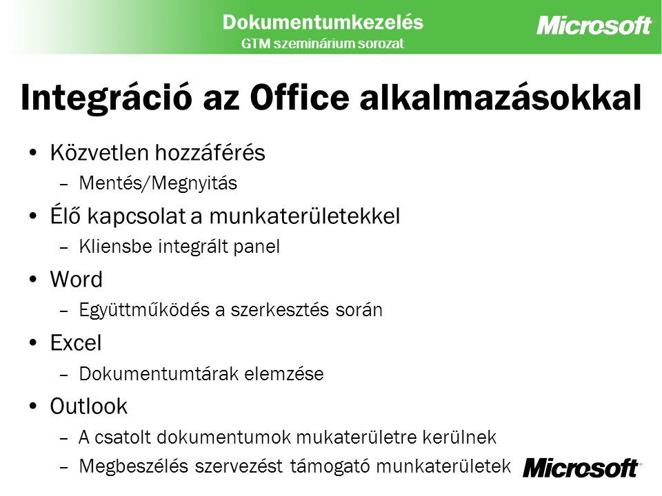 Dokumentumkezelés GTM szeminárium sorozat Integráció az Office alkalmazásokkal Közvetlen hozzáférés –Mentés/Megnyitás Élő kapcsolat a munkaterületekke