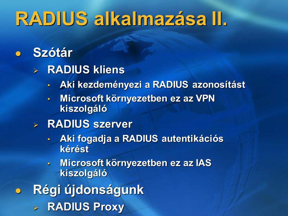 RADIUS alkalmazása II.