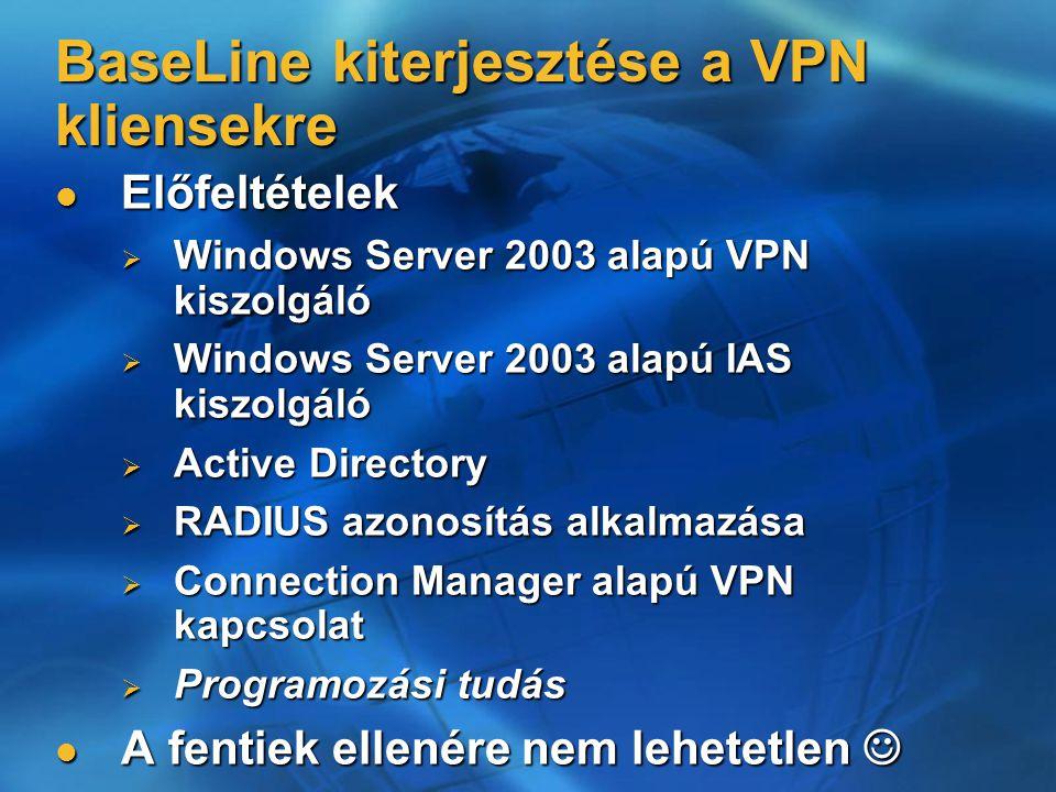 BaseLine kiterjesztése a VPN kliensekre Előfeltételek Előfeltételek  Windows Server 2003 alapú VPN kiszolgáló  Windows Server 2003 alapú IAS kiszolgáló  Active Directory  RADIUS azonosítás alkalmazása  Connection Manager alapú VPN kapcsolat  Programozási tudás A fentiek ellenére nem lehetetlen A fentiek ellenére nem lehetetlen