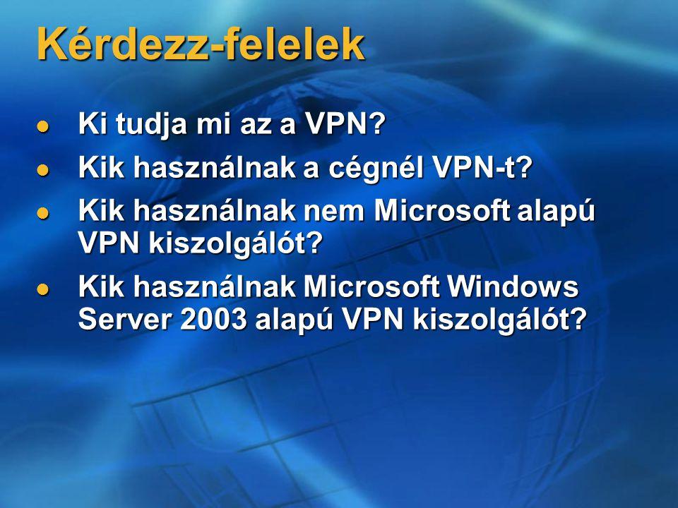 Kérdezz-felelek Ki tudja mi az a VPN? Ki tudja mi az a VPN? Kik használnak a cégnél VPN-t? Kik használnak a cégnél VPN-t? Kik használnak nem Microsoft
