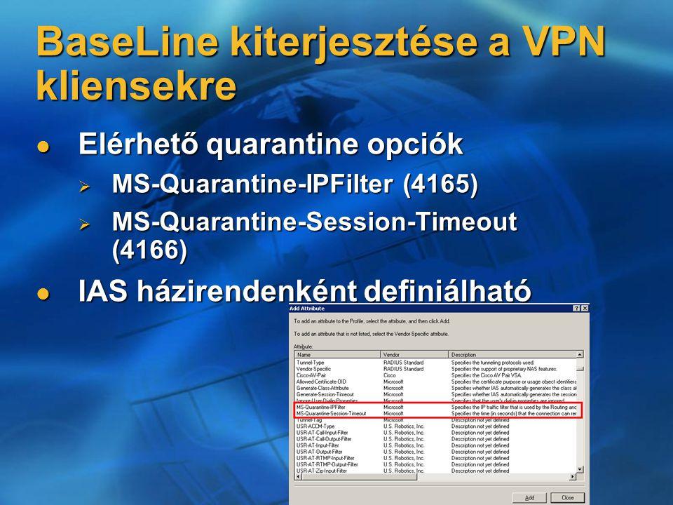 Elérhető quarantine opciók Elérhető quarantine opciók  MS-Quarantine-IPFilter (4165)  MS-Quarantine-Session-Timeout (4166) IAS házirendenként definiálható IAS házirendenként definiálható BaseLine kiterjesztése a VPN kliensekre