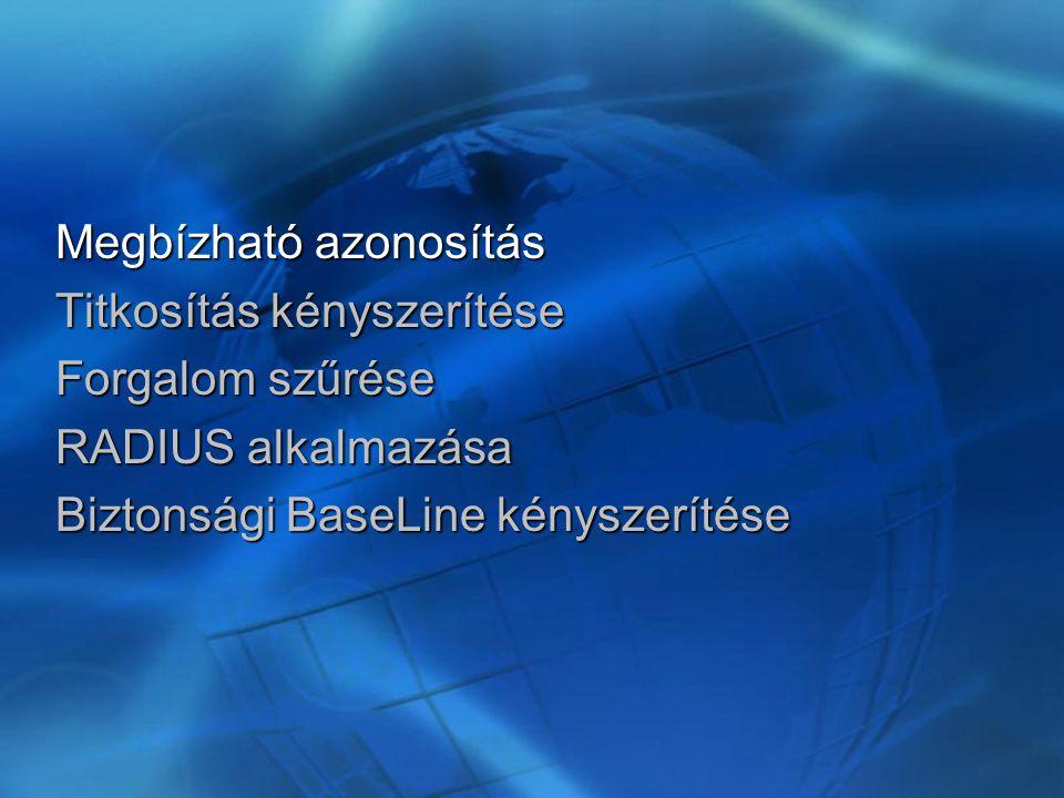 Megbízható azonosítás Titkosítás kényszerítése Forgalom szűrése RADIUS alkalmazása Biztonsági BaseLine kényszerítése