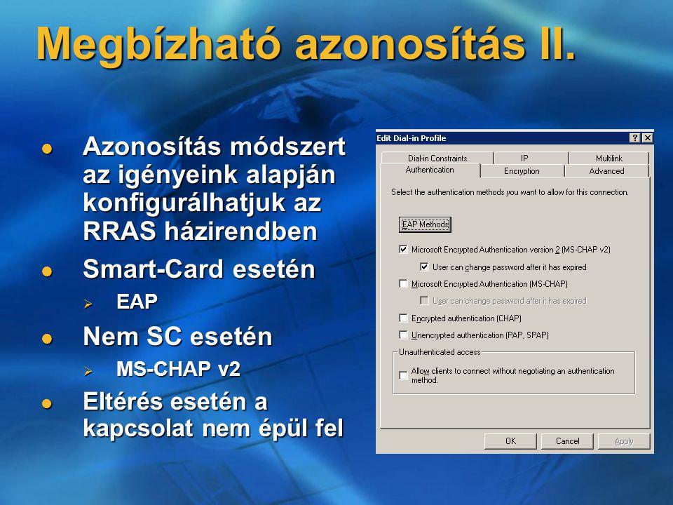 Megbízható azonosítás II. Azonosítás módszert az igényeink alapján konfigurálhatjuk az RRAS házirendben Azonosítás módszert az igényeink alapján konfi