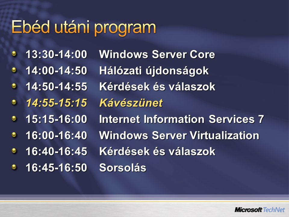 Az értékelőlap leadásáért adjuk, jut mindenkinek Rengeteg anyagot tettünk rá: A mai előadások prezentációi Windows Server 2008 Screencastok – első rész Béták Windows Server 2008 Beta 3 (x86) – kulcsot kérni kell hozzá: http://www.microsoft.com/technet/prodtechnol/beta/lhs/default.mspx http://www.microsoft.com/technet/prodtechnol/beta/lhs/default.mspx Virtual Server 2005 R2 SP1 RC System Center Virtual Machine Manager 2007 Beta 2 VHD környezet TechNet Magazinok Rengeteg dokumentum IPv6 Windows Server 2008, Step-by-Step Guide-ok Stb.