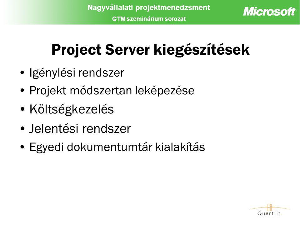 Nagyvállalati projektmenedzsment GTM szeminárium sorozat Project Server kiegészítések Igénylési rendszer Projekt módszertan leképezése Költségkezelés Jelentési rendszer Egyedi dokumentumtár kialakítás