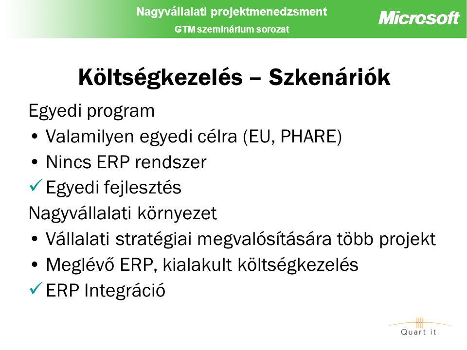 Nagyvállalati projektmenedzsment GTM szeminárium sorozat Költségkezelés – Szkenáriók Egyedi program Valamilyen egyedi célra (EU, PHARE) Nincs ERP rendszer Egyedi fejlesztés Nagyvállalati környezet Vállalati stratégiai megvalósítására több projekt Meglévő ERP, kialakult költségkezelés ERP Integráció