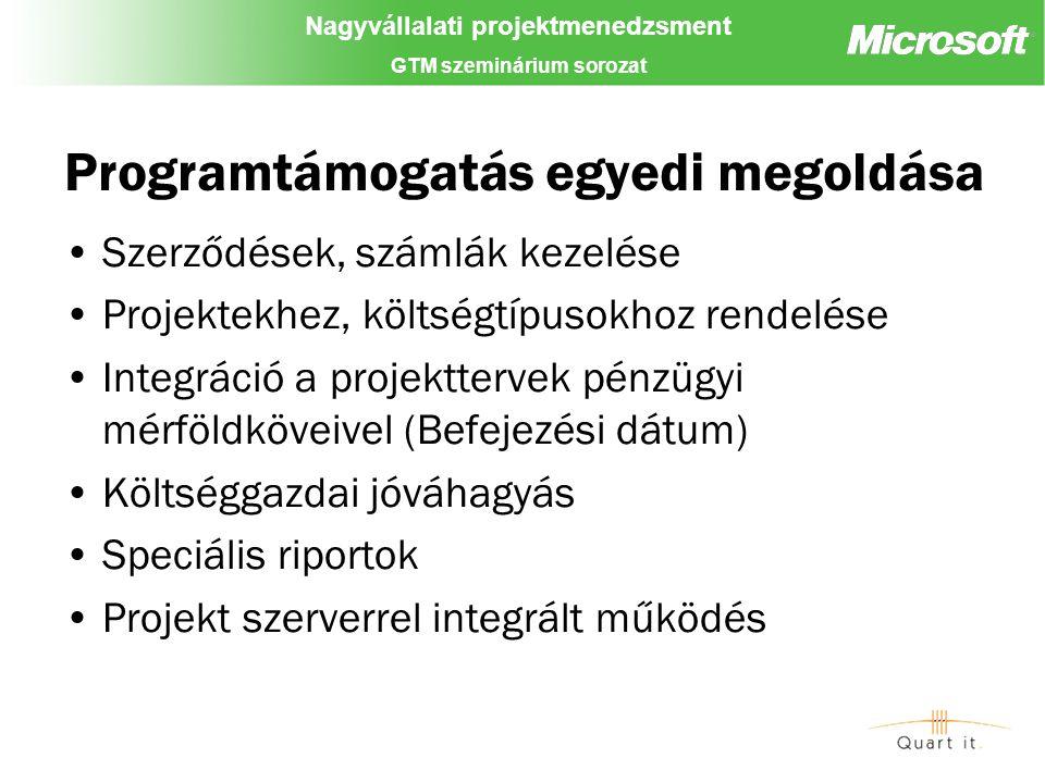 Nagyvállalati projektmenedzsment GTM szeminárium sorozat Programtámogatás egyedi megoldása Szerződések, számlák kezelése Projektekhez, költségtípusokhoz rendelése Integráció a projekttervek pénzügyi mérföldköveivel (Befejezési dátum) Költséggazdai jóváhagyás Speciális riportok Projekt szerverrel integrált működés