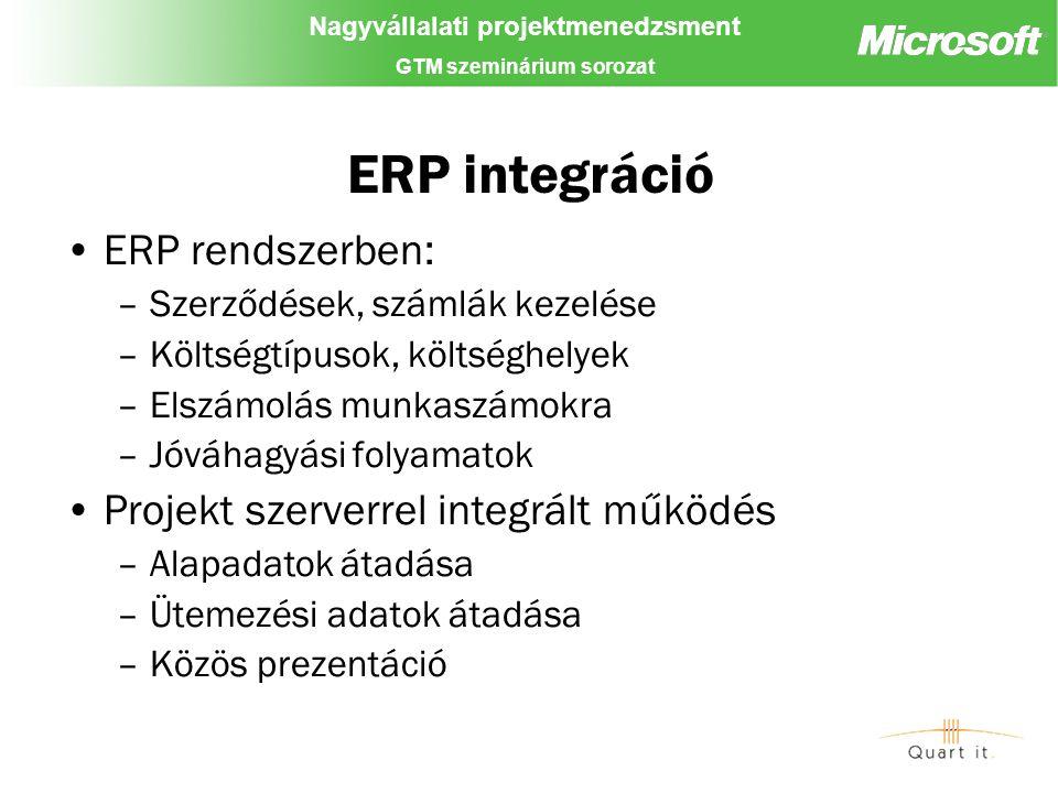 Nagyvállalati projektmenedzsment GTM szeminárium sorozat ERP integráció ERP rendszerben: –Szerződések, számlák kezelése –Költségtípusok, költséghelyek –Elszámolás munkaszámokra –Jóváhagyási folyamatok Projekt szerverrel integrált működés –Alapadatok átadása –Ütemezési adatok átadása –Közös prezentáció