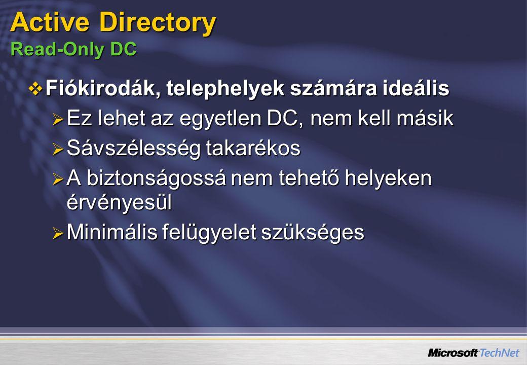 Active Directory Read-Only DC  Fiókirodák, telephelyek számára ideális  Ez lehet az egyetlen DC, nem kell másik  Sávszélesség takarékos  A biztons