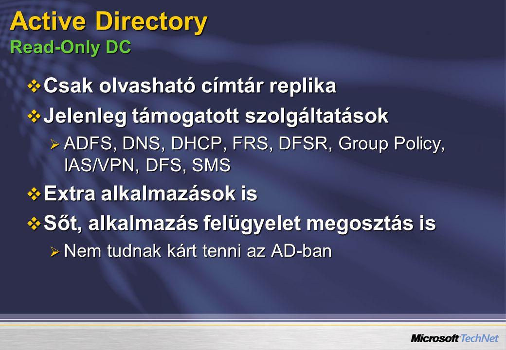 Active Directory Read-Only DC  Csak olvasható címtár replika  Jelenleg támogatott szolgáltatások  ADFS, DNS, DHCP, FRS, DFSR, Group Policy, IAS/VPN