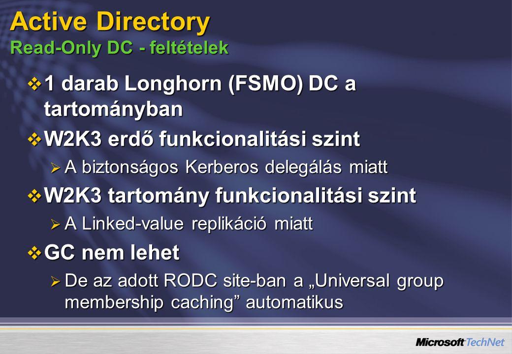  1 darab Longhorn (FSMO) DC a tartományban  W2K3 erdő funkcionalitási szint  A biztonságos Kerberos delegálás miatt  W2K3 tartomány funkcionalitás