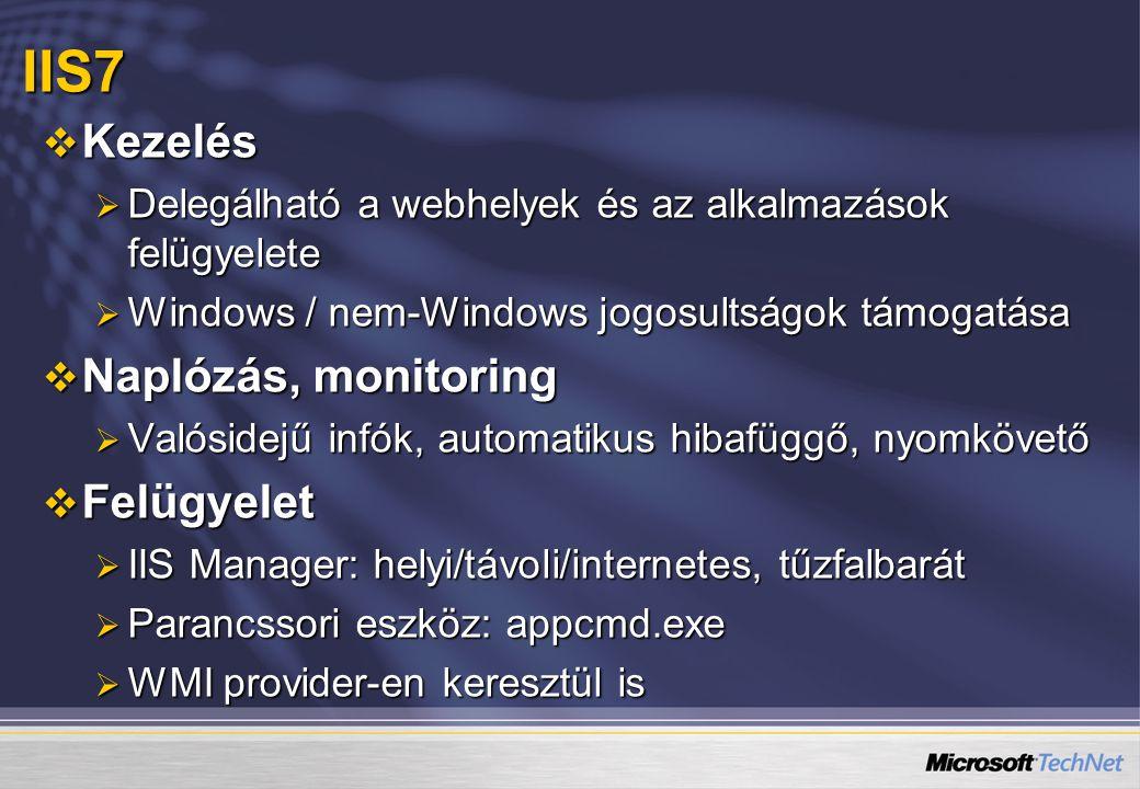  Kezelés  Delegálható a webhelyek és az alkalmazások felügyelete  Windows / nem-Windows jogosultságok támogatása  Naplózás, monitoring  Valósidej