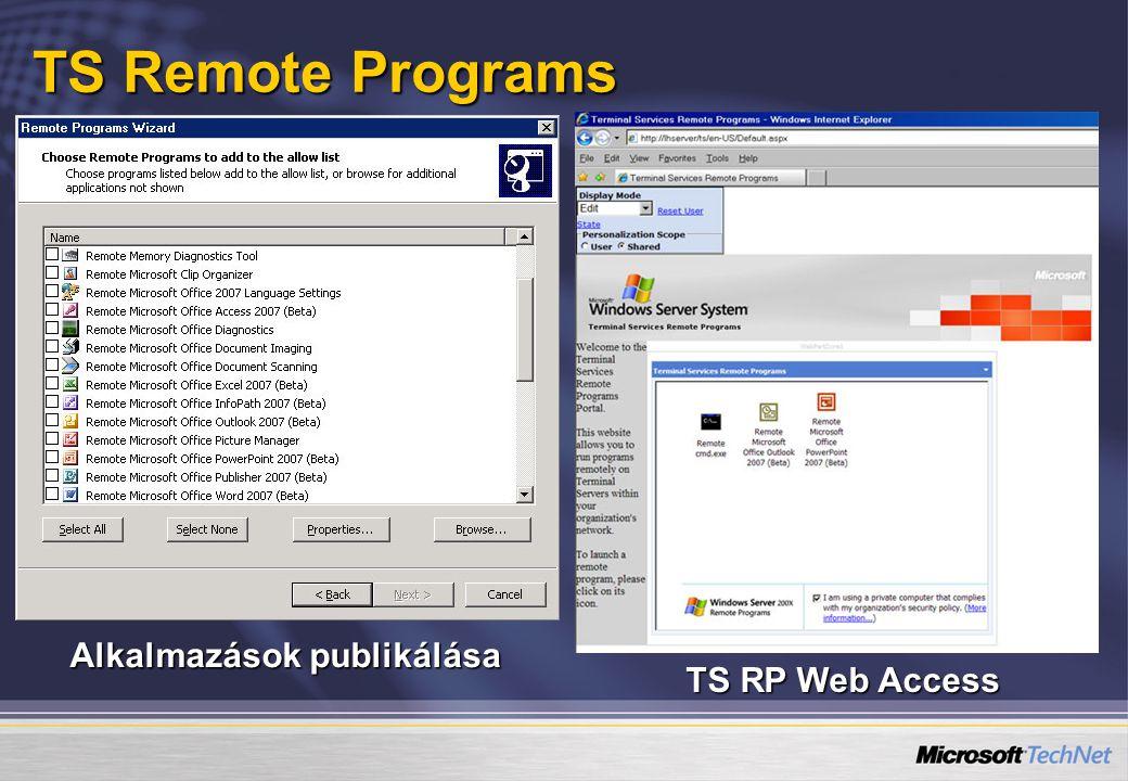 TS Remote Programs Alkalmazások publikálása TS RP Web Access