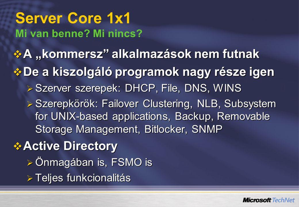 """ A """"kommersz"""" alkalmazások nem futnak  De a kiszolgáló programok nagy része igen  Szerver szerepek: DHCP, File, DNS, WINS  Szerepkörök: Failover C"""