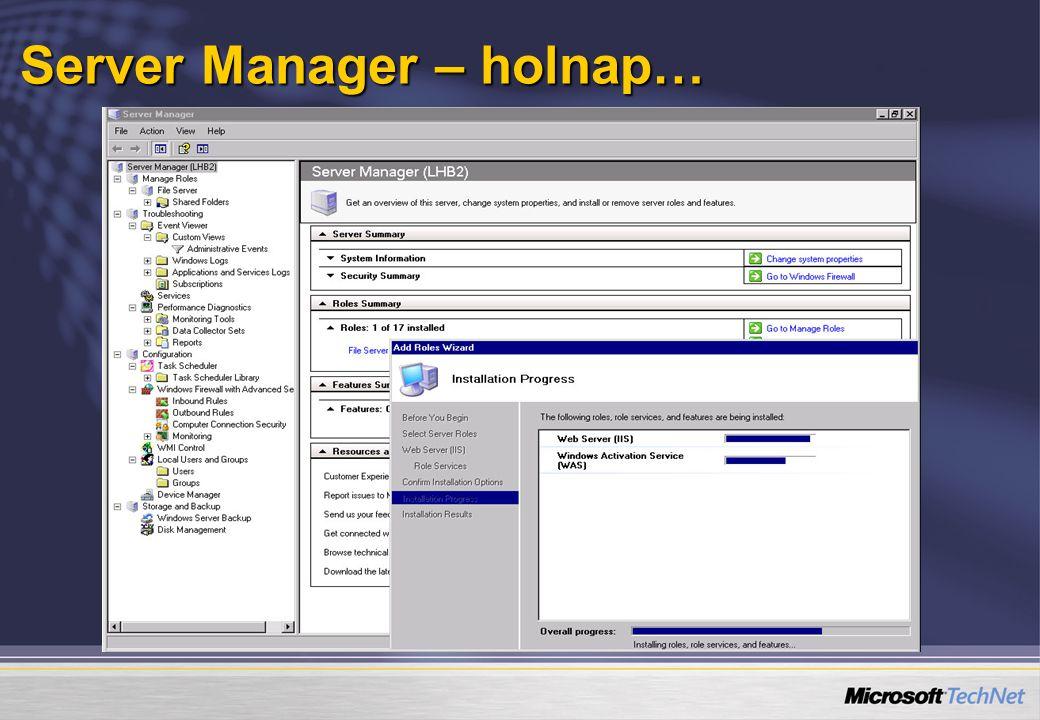  Teljesen új technológia amely hasonlít a VPN karanténhoz, de annál több, mert  Az összes hálózati kliensre érvényes  Szerver/kliens megoldás  Több hozzáférési közegből (LAN, RAS, WLAN)  LH Server lesz az első NAP kiszolgáló  kliensek: Vista, LH Server és Windows XP SP2.