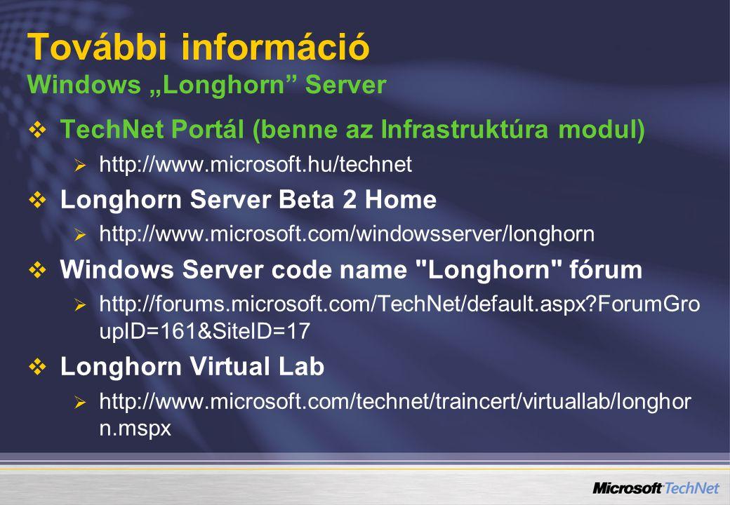 "További információ Windows ""Longhorn"" Server   TechNet Portál (benne az Infrastruktúra modul)   http://www.microsoft.hu/technet   Longhorn Serve"