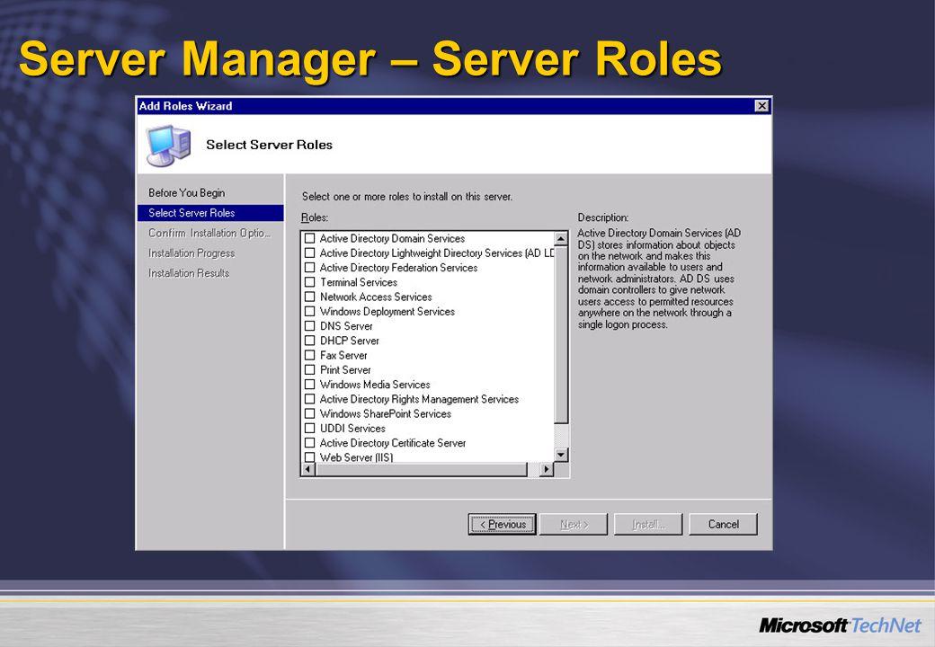 Server Core 1x1 Példák a konfigurálásra, telepítésre   TCP/IP   Netsh interface ipv4 Show interfaces   Set address name= ID source=static address=StaticIP mask=SubnetMask gateway=DefaultGateway   Add dnsserver name= ID address=DNSIP index=1   DHCP szerver telepítés  Start /w Ocsetup DHCPServerCore