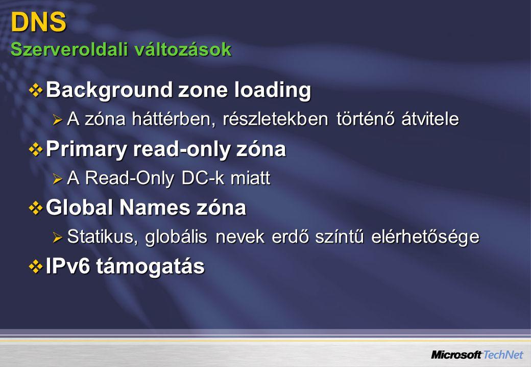 DNS Szerveroldali változások  Background zone loading  A zóna háttérben, részletekben történő átvitele  Primary read-only zóna  A Read-Only DC-k m