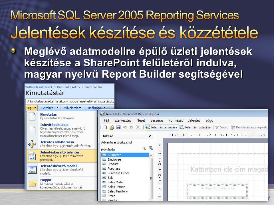 Meglévő adatmodellre épülő üzleti jelentések készítése a SharePoint felületéről indulva, magyar nyelvű Report Builder segítségével