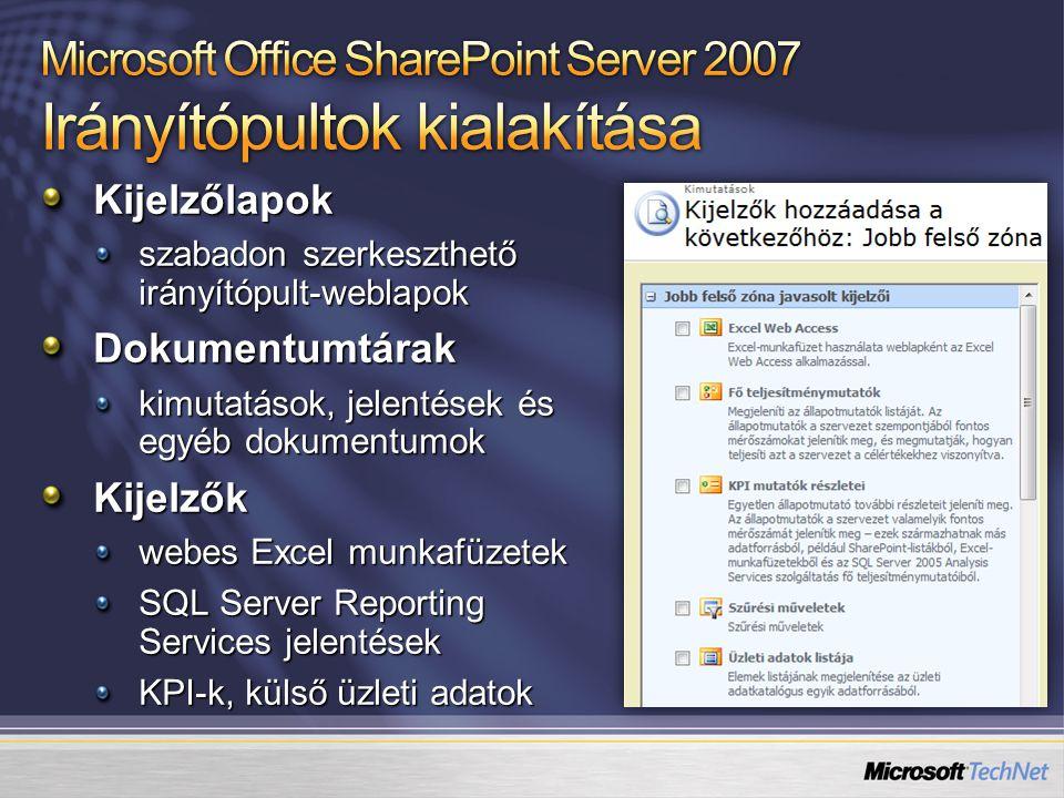 Kijelzőlapok szabadon szerkeszthető irányítópult-weblapok Dokumentumtárak kimutatások, jelentések és egyéb dokumentumok Kijelzők webes Excel munkafüzetek SQL Server Reporting Services jelentések KPI-k, külső üzleti adatok