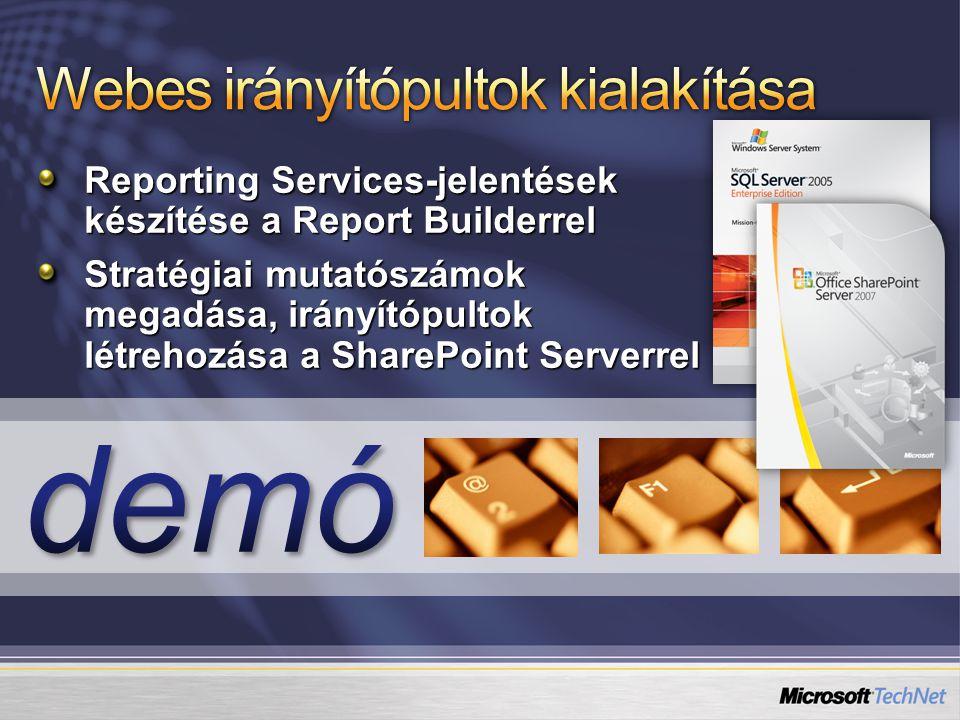 Reporting Services-jelentések készítése a Report Builderrel Stratégiai mutatószámok megadása, irányítópultok létrehozása a SharePoint Serverrel