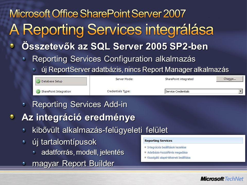 Összetevők az SQL Server 2005 SP2-ben Reporting Services Configuration alkalmazás új ReportServer adatbázis, nincs Report Manager alkalmazás Reporting