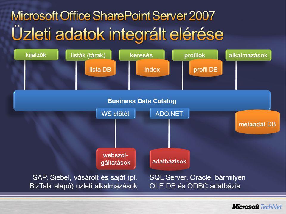 keresés profilok webszol- gáltatások alkalmazások SAP, Siebel, vásárolt és saját (pl. BizTalk alapú) üzleti alkalmazások kijelzők listák (tárak) profi
