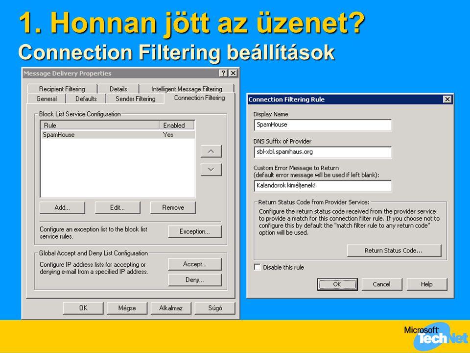 1. Honnan jött az üzenet? Connection Filtering beállítások