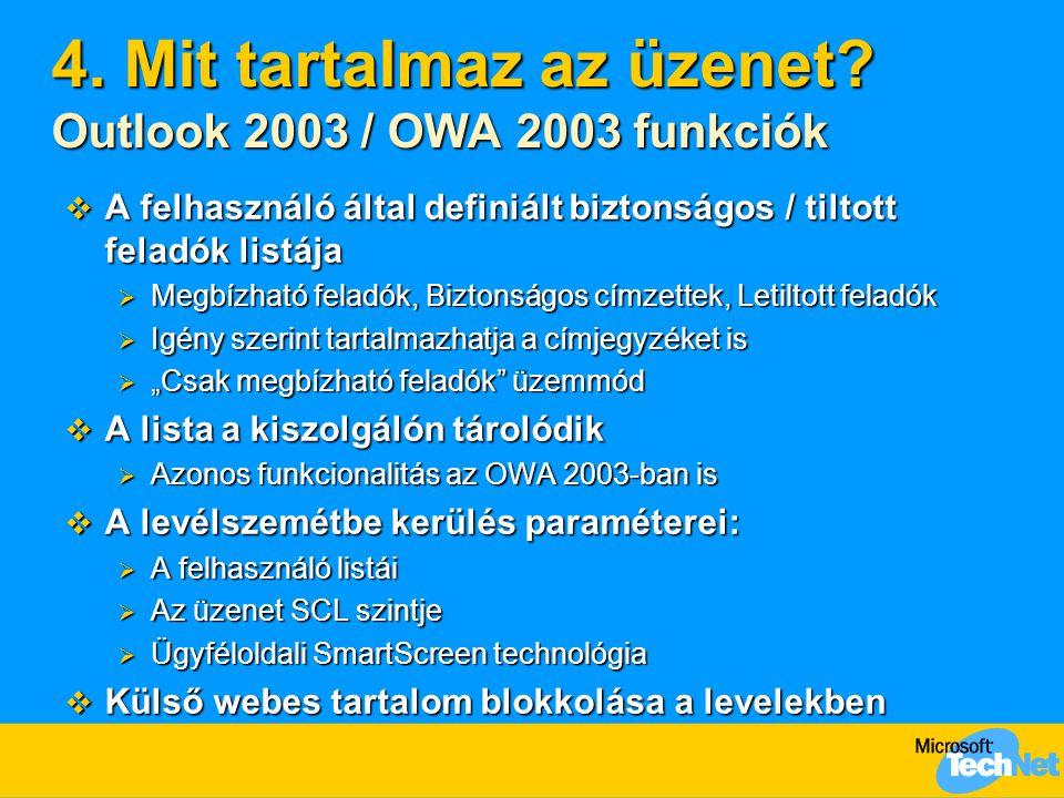 4. Mit tartalmaz az üzenet? Outlook 2003 / OWA 2003 funkciók  A felhasználó által definiált biztonságos / tiltott feladók listája  Megbízható feladó