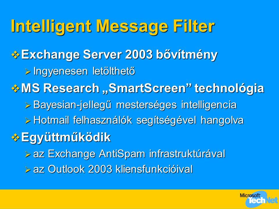 "Intelligent Message Filter  Exchange Server 2003 bővítmény  Ingyenesen letölthető  MS Research ""SmartScreen"" technológia  Bayesian-jellegű mesters"