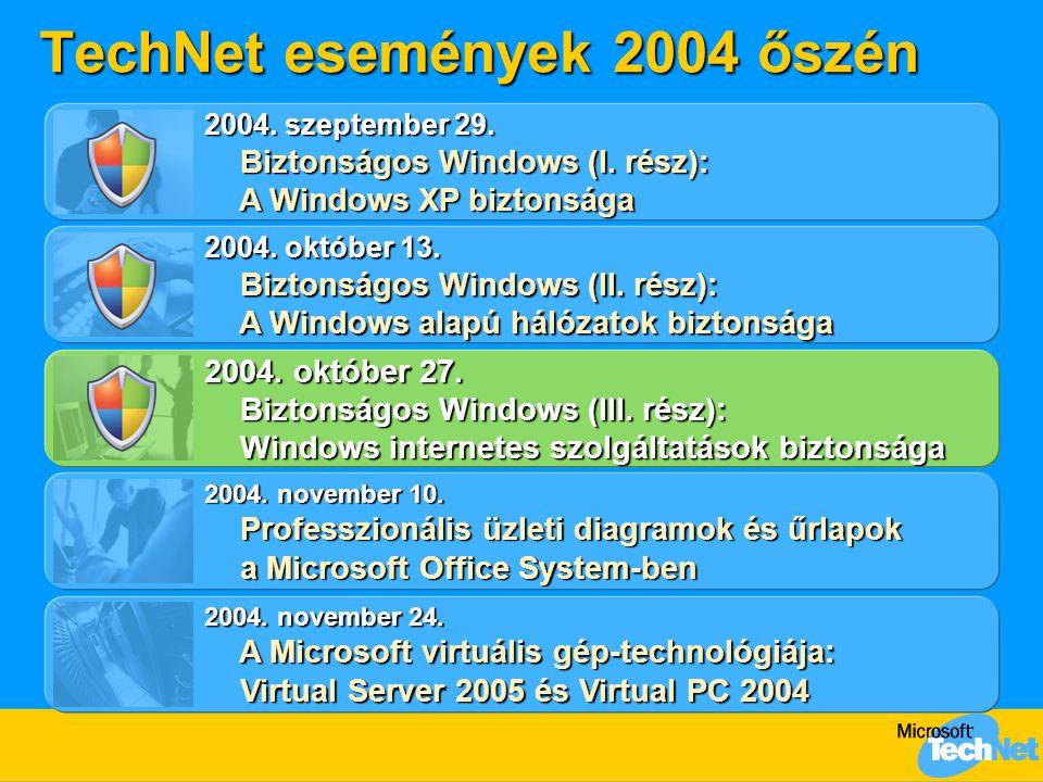 TechNet események 2004 őszén 2004. október 13. Biztonságos Windows (II. rész): A Windows alapú hálózatok biztonsága Biztonságos Windows (II. rész): A