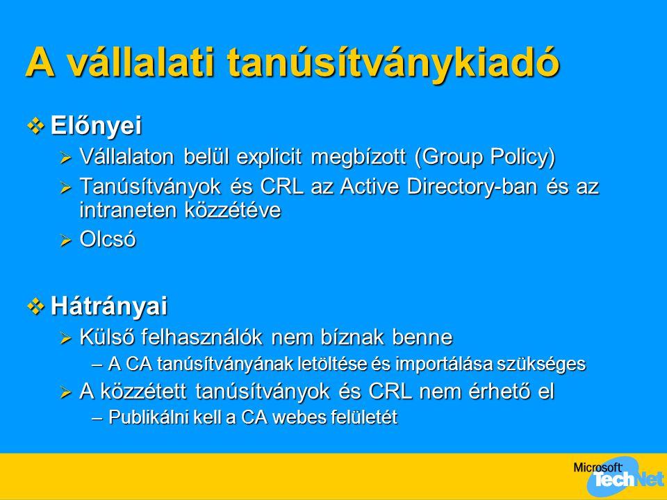 A vállalati tanúsítványkiadó  Előnyei  Vállalaton belül explicit megbízott (Group Policy)  Tanúsítványok és CRL az Active Directory-ban és az intra